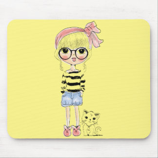 Cute Girl with Round Glasses and her Sweet Cat Mouse Pad