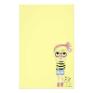 Cute Girl with Round Glasses and her Sweet Cat Stationery