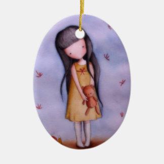 Cute Girl with Teddy Bear Ornament