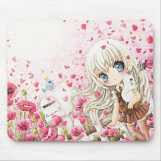 Cute girl with white cat on pink flowers field mouse pad