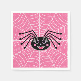 Cute Girlie Halloween Spider on Web Party Disposable Napkins