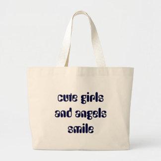 cute girls and angels smile jumbo tote bag