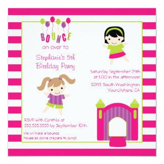 Cute girl's bounce house party birthday invitation