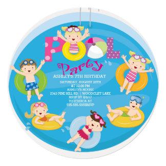 Cute Girls & Boys Pool Birthday Invitation