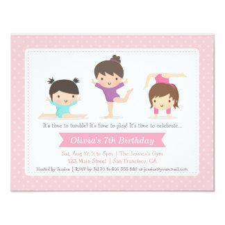 Cute Girls Gymnastics Birthday Party Invitations