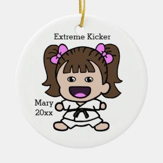 Cute Girl's Karate Christmas Ornament