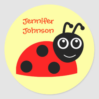 Cute Girls Personalized Cartoon Ladybug Sticker