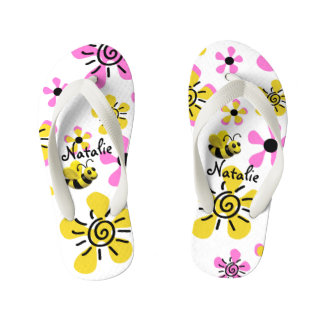 Cute Girl's Pink Bumble Bee Flower Thongs
