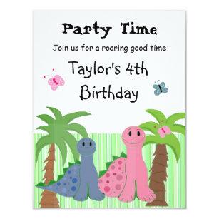Girl dinosaur invitations announcements zazzle au cute girls pink dinosaur birthday invitation filmwisefo