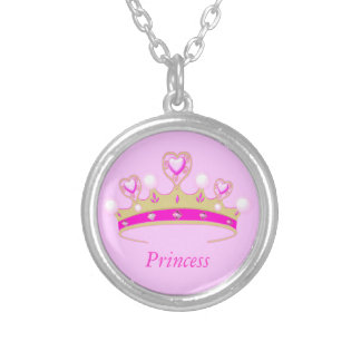 Cute Girl's Pink Faux Jewel Princess Crown Tiara Silver Plated Necklace