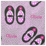 Cute Girls Polka Dot Shoes Theme Personalised Fabric
