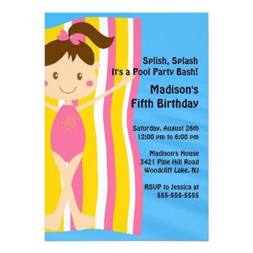 CUTE Girls Pool Party Birthday Invitation
