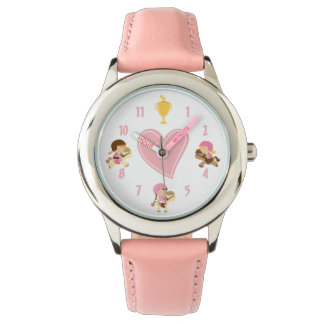 Cute Girls Riding Ponies and Pink Heart Horse Watch