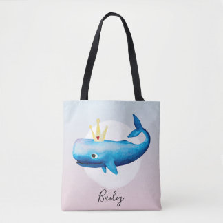 Cute Girl's Watercolor Princess Whale with Name Tote Bag
