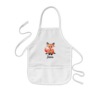 Cute Girls Watercolor Woodland Wildlife Fox & Name Kids Apron
