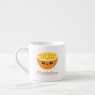 Cute Girly Adorable Happy Sweet Orange Cartoon Espresso Cup