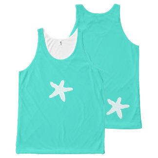 Cute Girly Aqua Green Turquoise Starfish Beach All-Over Print Singlet