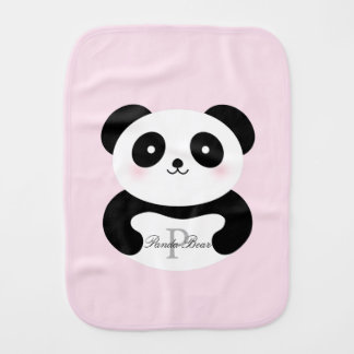 Cute Girly Baby Girl Panda Bear Monogram Burp Cloth