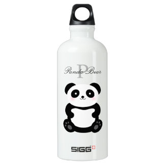 Cute Girly Baby Panda Bear Add Your Name Monogram Water Bottle