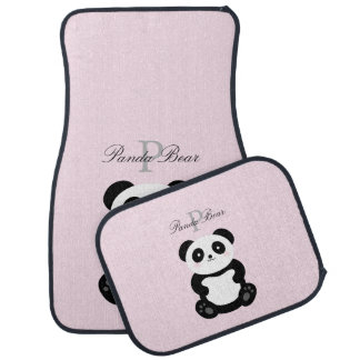 Cute Girly Baby Panda Bear Monogram Car Mat