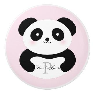 Cute Girly Baby Panda Bear Monogram Ceramic Knob