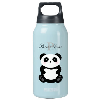 Cute Girly Baby Panda Bear Monogram Insulated Water Bottle
