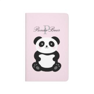Cute Girly Baby Panda Bear Monogram Journal