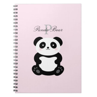 Cute Girly Baby Panda Bear Monogram Notebooks