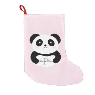Cute Girly Baby Panda Bear Monogram Small Christmas Stocking