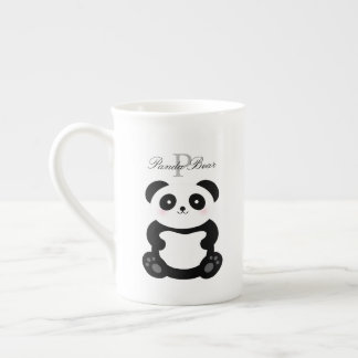 Cute Girly Baby Panda Bear Monogram Tea Cup