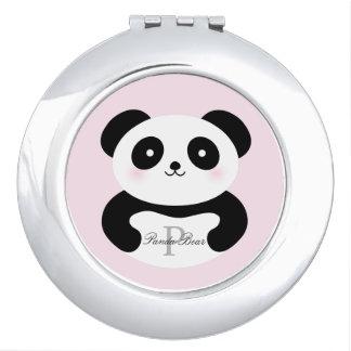 Cute Girly Baby Panda Bear Monogram Travel Mirrors