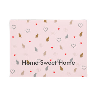 Cute girly cat and heart pattern pastel pink doormat