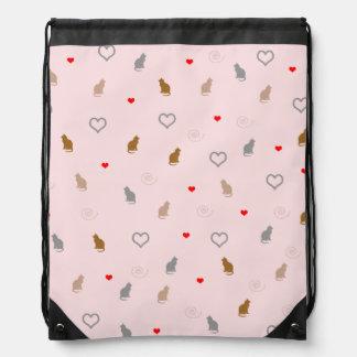 Cute girly cat and heart pattern pastel pink drawstring bag