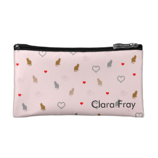 Cute girly cat and heart pattern pastel pink makeup bag