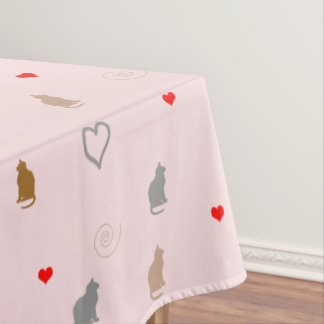 Cute girly cat and heart pattern pastel pink tablecloth