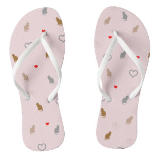 Cute girly cat and heart pattern pastel pink thongs