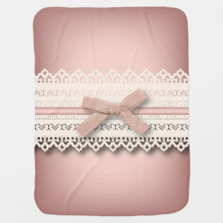 cute girly chic white lace dusty rose pink bow baby blanket