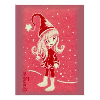 Cute Girly Christmas Elf Postcard