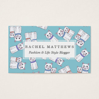 Cute Girly Christmas Holiday Polar Bears Business Card