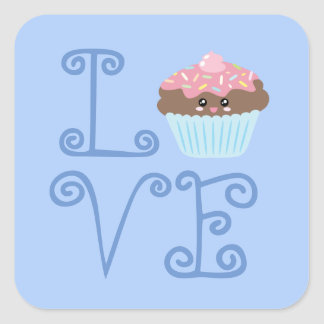 Cute Girly Colorful Kawaii Sweet Love Cupcake Square Sticker