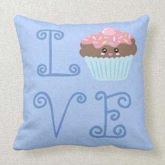 Cute Girly Colorful Kawaii Sweet Love Cupcake Throw Pillow