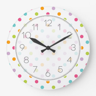 Cute Girly Colorful Polka Dots Large Clock