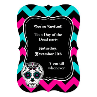 Cute girly day of the dead sugar skull chevron card
