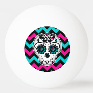 Cute girly day of the dead sugar skull chevron ping pong ball