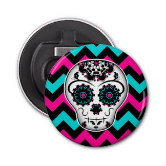 Cute girly day of the dead sugar skull chevron button bottle opener