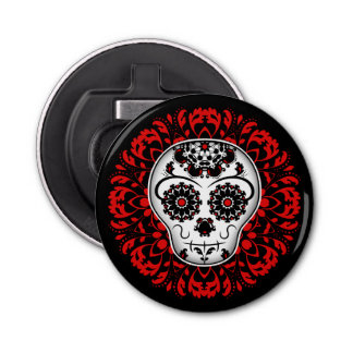 Cute girly day of the dead sugar skull red button bottle opener