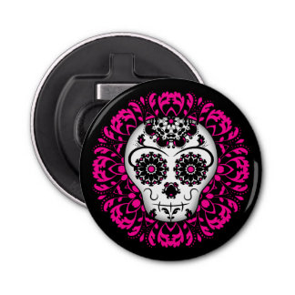 Cute girly day of the dead sugar skull button bottle opener