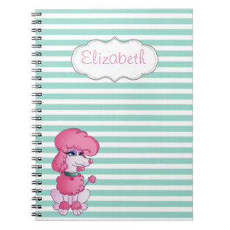 Cute Girly  Dog On Mint White Stripes-Personalized Spiral Notebook