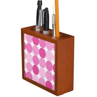 Cute Girly Elegant Pink Polka Dots Desk Organiser