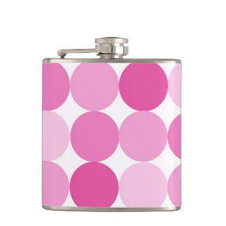 Cute Girly Elegant Pink Polka Dots Hip Flask